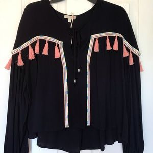 Gianni Bini Boho Black blouse fringes/ hippie chic